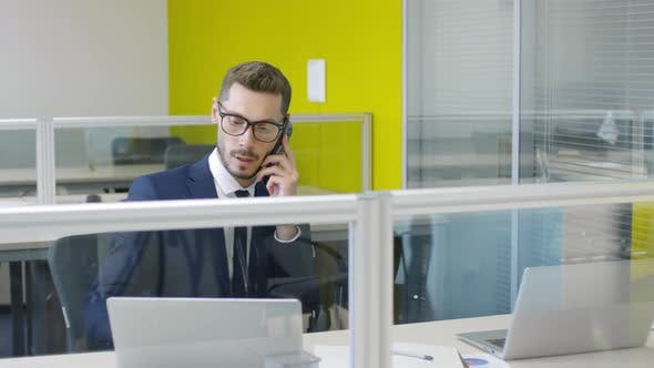 Cover Image for Busy Businessman Talking on Phone and Signing Papers