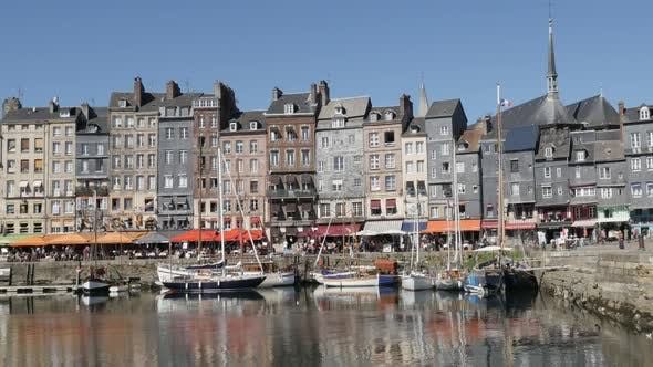 Thumbnail for HONFLEUR, FRANCE - SEPTEMBER 2016 Famous  architecture reflections on water of northern Normandy The