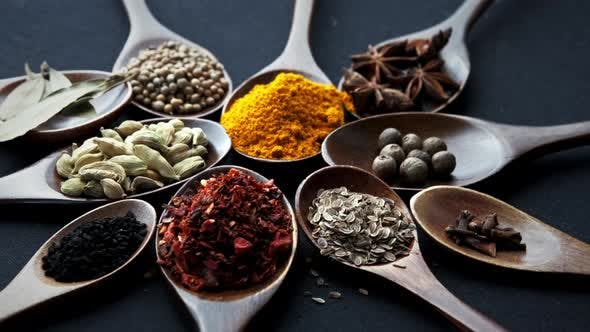 Thumbnail for Colourful Various Herbs and Spices for Cooking on Dark Background.