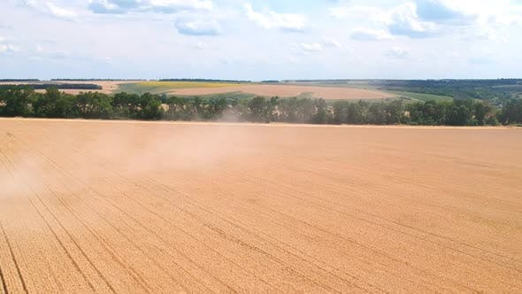 Aerial Shot of Large Wheat Field or Farmland After Harvesting. Beautiful Countryside Landscape