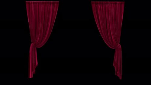 Hanging Red Velvet Curtains with Alpha Channel Animation