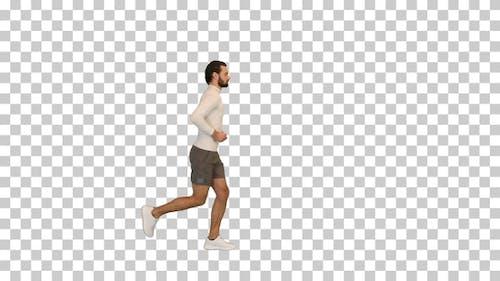 Gesund aussehender junger Mann joggen, Alpha Channel