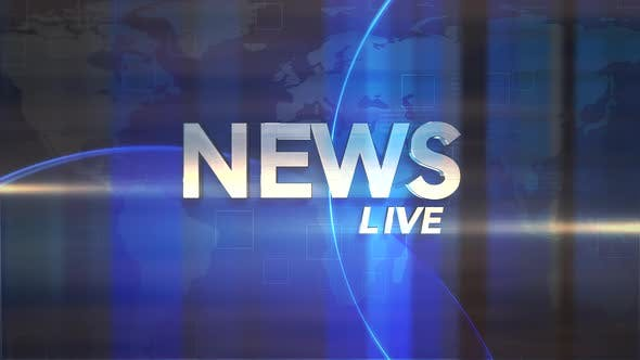 Text News Live and news intro graphic with blue lines and world map in studio