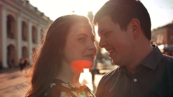 Thumbnail for Happy Young Couple on City Street.