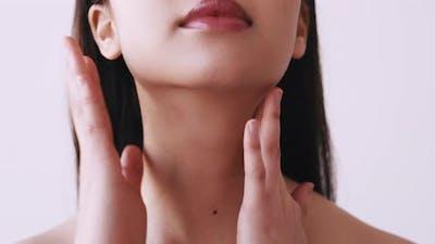 Beauty Care Skin Moisturizing Woman Touching Neck