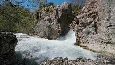 Fast Mountain River With Sparkling Water