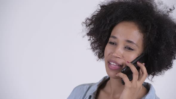 Thumbnail for Face of Young Happy African Woman Talking on the Phone
