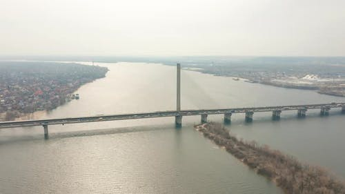 Bridge with Trafic Over the River Aerial Drone Footage.