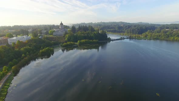 Thumbnail for Washington State Capital Building in City Of Olympia - Aerial View From Above Lake