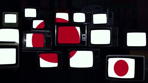 Flag of Japan on Retro TVs.