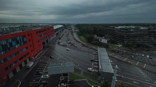 Timelapse of transport traffic at Aeroexpress terminal in Sheremetyevo Airport