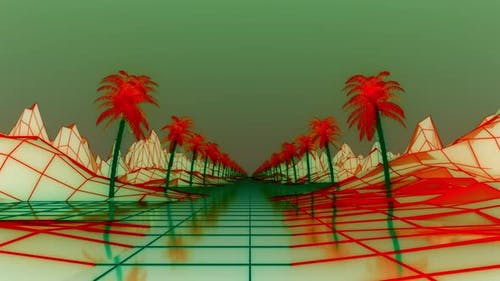 Camera Moves Along Syntwave Wireframe Net