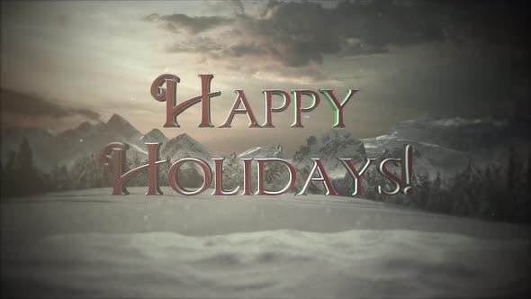 Thumbnail for Animierte Nahaufnahme Frohe Feiertage Text, Berge und Schneelandschaft