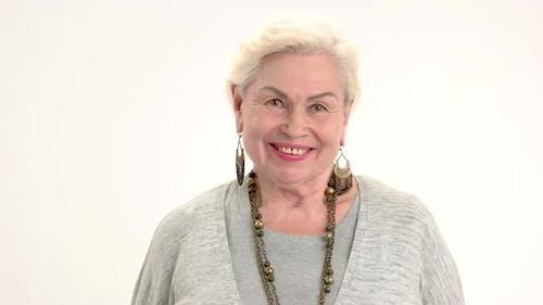 Smiling Elderly Female Isolated