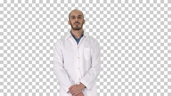 Thumbnail for Standing Young Serious Arab Doctor, Alpha Channel