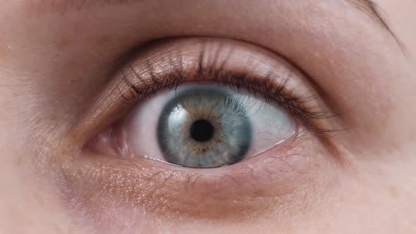 Female Woman Open Eye, Close Up. Caucasian Adult Woman, Isolated