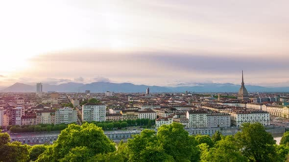 Thumbnail for Timelapse at sunset over Turin Italy, town wake up, colorful dramatic sky