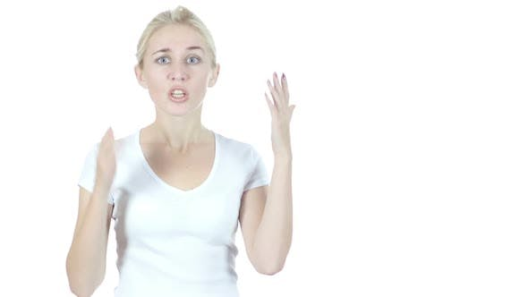 Thumbnail for Yelling, Angry Young Woman Verbal Fighting, White Background