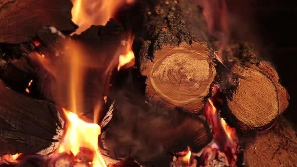 Thumbnail for Burning Firewood on Closeup