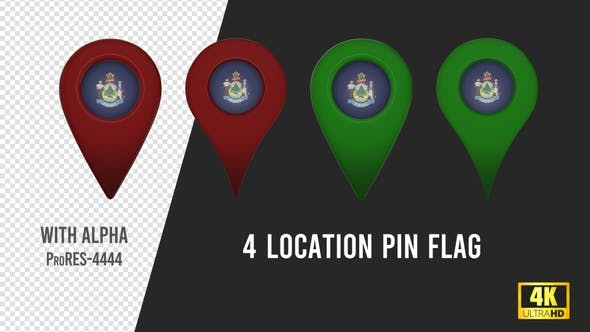 Thumbnail for Maine State Flag Location Pins Red And Green