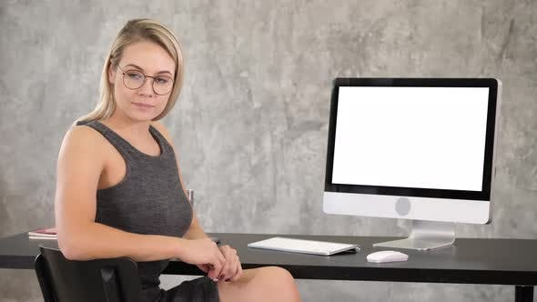 Thumbnail for Smart Professional Woman Near Computer. White Display