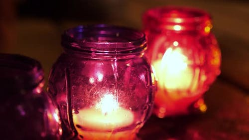 Pure Thursday. Holly Week. Burning Candles in Remembrance of Victims of Terror, Act of Terrorism.