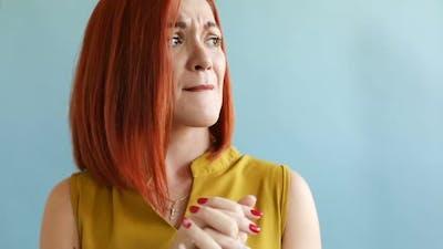Redhead Woman is Depressed