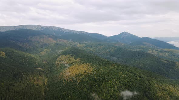 Aerial Dron Shot of Cloudy Mountains
