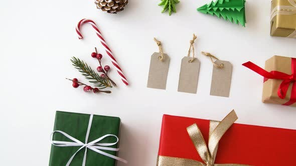 Thumbnail for Christmas Gifts and Decoration on White Background