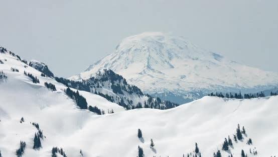 Thumbnail for Mt Adams Washington Snowy Mountain Peak Motion Time Lapse Tilt Up To Sky