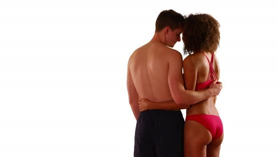 Thumbnail for Interracial couple isolated on white background.  Mixed race couple on copyspace background. 4k