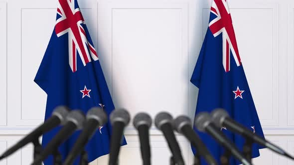 Thumbnail for Official Press Conference with Flags of New Zealand