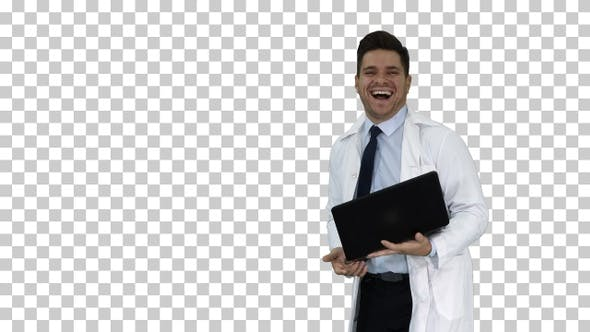Thumbnail for Entrepreneur engineer or doctor with a laptop laughing Alpha