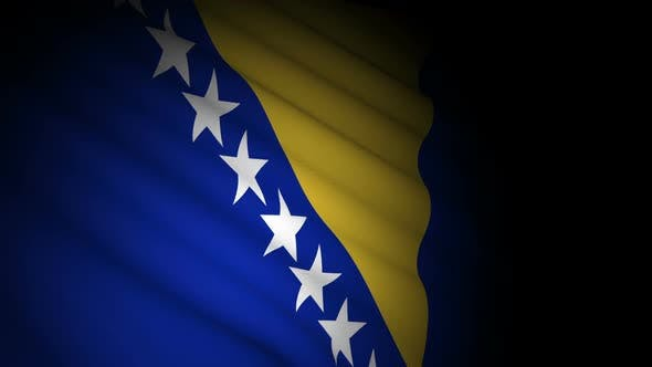 Bosnia and Herzegovina Flag Blowing in Wind