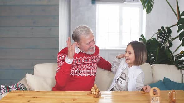 Thumbnail for Happy Grandfather Playing Games with His Granddaughter Indoors
