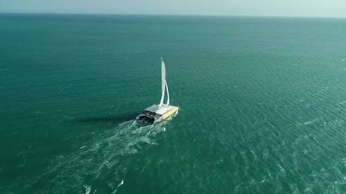 Follow behind a Catamaran