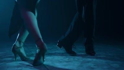 Dancers Legs Exercising Latin Movements