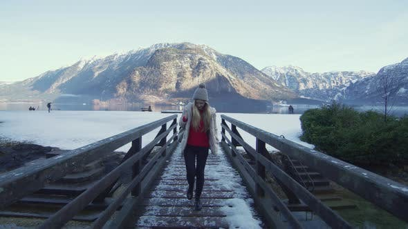 Thumbnail for Walking on a footbridge at Hallstatt Lake