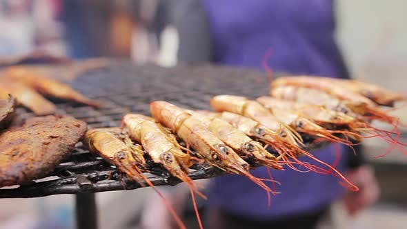 Thumbnail for Mediterranean Cuisine. Grilled Fish and Shrimps. Cook Preparing a Meal Outdoors