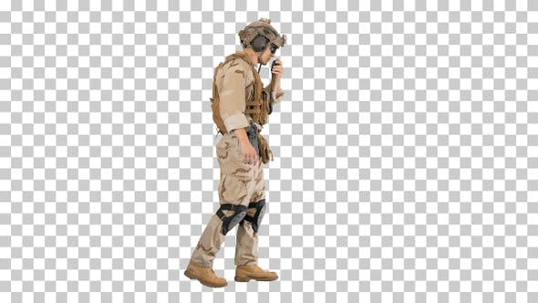 Thumbnail for Military man marine walking and using radio, Alpha Channel