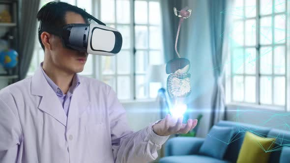 Doctor Using Vr Glasses Virtual Reality Working With Holographic Digestive System