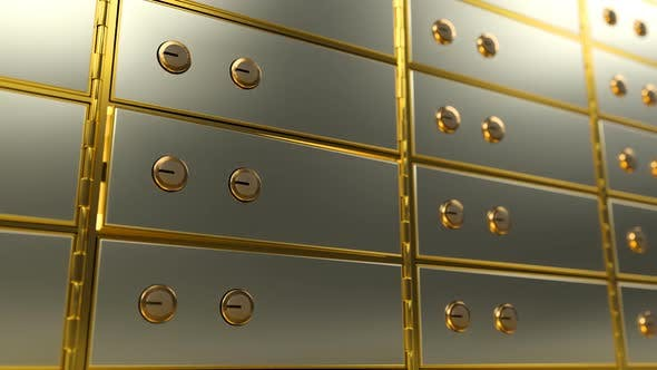 Cover Image for Safe Deposit Box Opens and Shows a Bright Light Inside It, Angle View