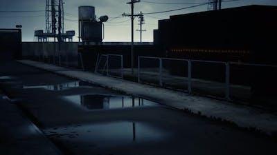Industrial Zone in Dark Cloudy Weather