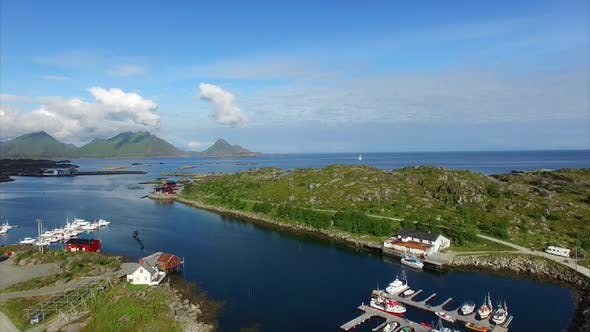 Thumbnail for Marina in Ballstad, Lofoten, aerial view