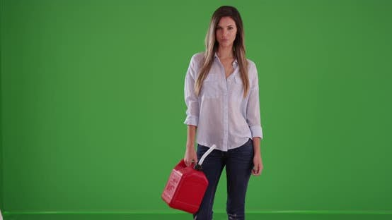 Thumbnail for Stranded woman holding red gasoline can after running out of gas on greenscreen
