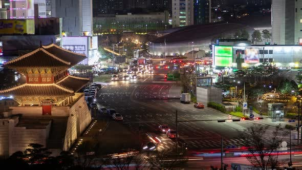 Thumbnail for Timelapse Famous Heunginjimun and Dongdaemun Plaza in Seoul
