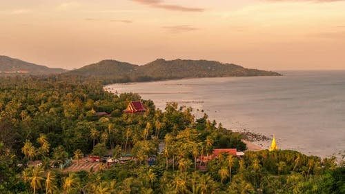 The top view from view point on the coast of Koh Samui at sunset, Thailand