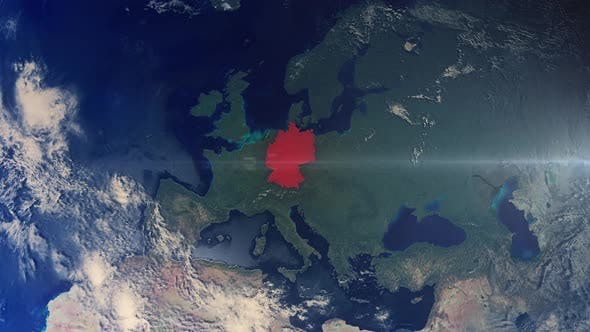 Thumbnail for Realistic Earth Zoom Red Alert Highlight Country Germany