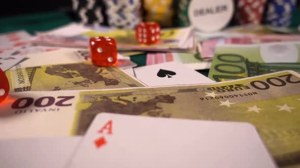 Thumbnail for Gambling Money Chips Poker Cards And Red Dices 37