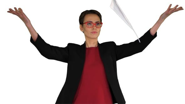 Thumbnail for Businesswoman in Glasses Is Scattering Documents on White